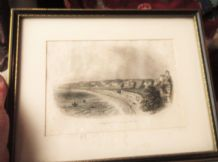 ANTIQUE FRAMED GLAZED TINTED ENGRAVING PRINT TORQUAY ROCK WALK WEST BESLEY c1860